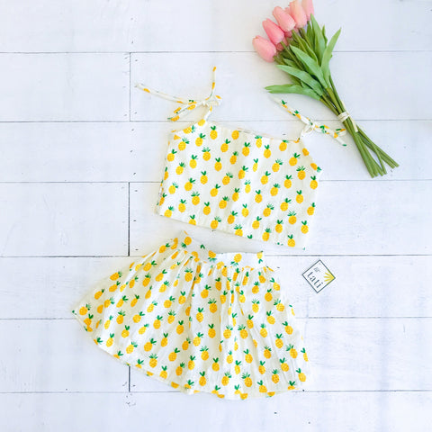 Sage - Tie-strap Top and Skirt in Sweet Pineapple-Lil' Tati