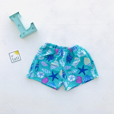 Boys' Swimming Shorts in Sea Shells Print-Lil' Tati
