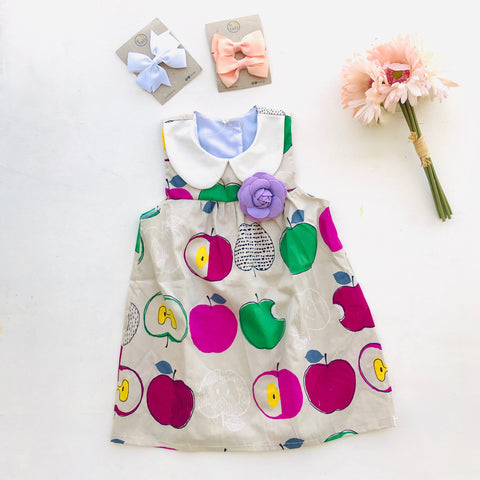 Tea Rose Dress in Artsy Apple Magenta Print-Lil' Tati