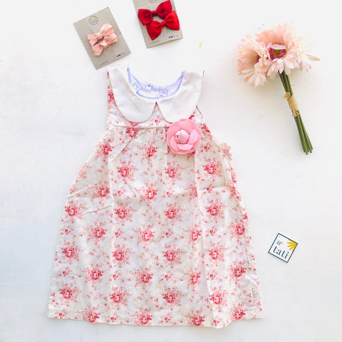 Tea Rose Dress in Bellini Flowers Print-Lil' Tati