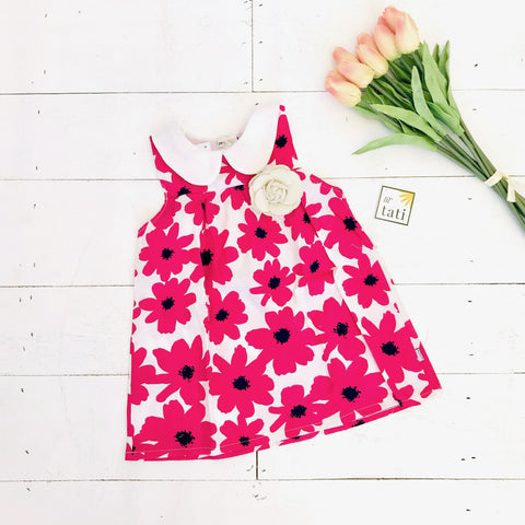 Tea Rose Dress in Edgy Floral Pink Print - Lil' Tati