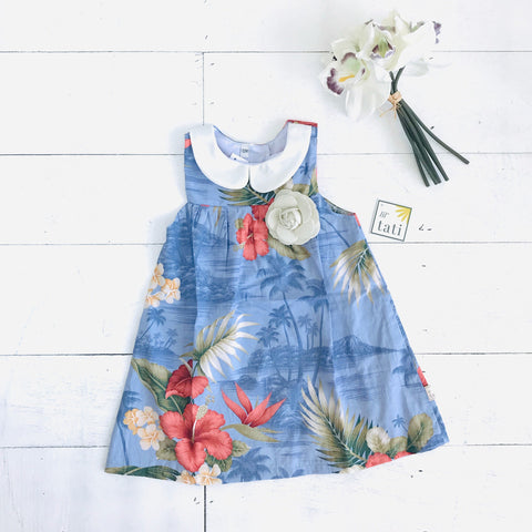 Tea Rose Dress in Hawaiian Blue - Lil' Tati