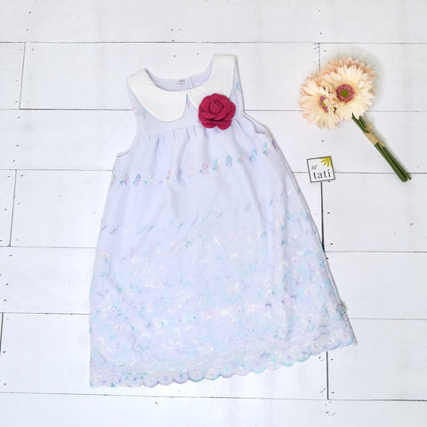 Tea Rose Dress in Lilac Pastel Embroidery-Lil' Tati