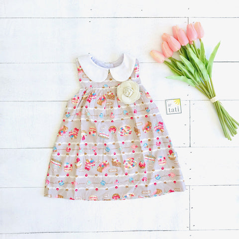 Tea Rose Dress in Patisserie Print - Lil' Tati