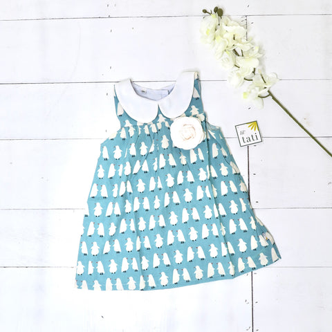 Tea Rose Dress in Penguin March Mint Print - Lil' Tati