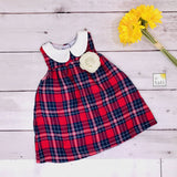 Tea Rose Dress in Tartan Red - Lil' Tati