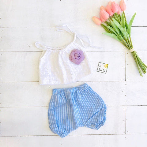 Quince Top and Bloomers in White Daisy Eyelet and Blue Stripes - Lil' Tati