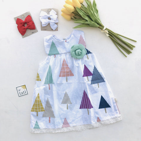 Peony Dress in Festive Trees Print-Lil' Tati