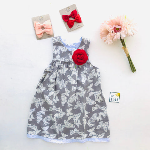 Peony Dress in Gray Butterfly Print - Lil' Tati