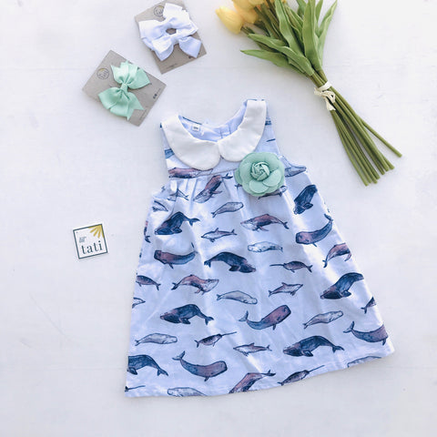 Tea Rose Dress in Indigo Whales Linen-Lil' Tati