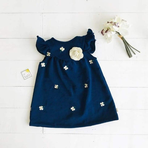 Rosemary Dress in Blue Floral Embroidery-Lil' Tati