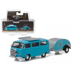 1972 Volkswagen Type 2 Bus Blue and Teardrop Trailer Hitch & Tow Series 8 1/64 Diecast Model Car by Greenlight