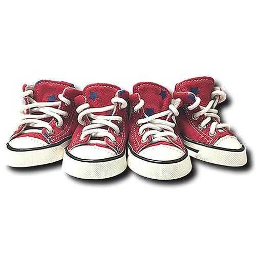 Converse Dog Shoes by Parisian Pet - Red with Blue Stars