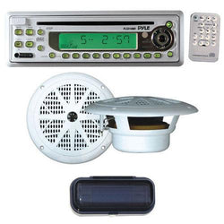 Pyle Complete Weatherproof Sound Audio System for the Boat, Marine, Deck - AM/FM-MPX In-Dash Marine CD/MP3 Player + Pair of 6.5