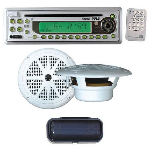"Pyle Complete Weatherproof Sound Audio System for the Boat, Marine, Deck - AM/FM-MPX In-Dash Marine CD/MP3 Player + Pair of 6.5"" Dual Cone Full-Range Speakers + Water Resistant Radio Shield"