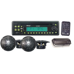 Waterproof Marine AM/FM/CD Player Receiver W/ 4 X 5.25'' Speakers & Splash Proof Radio Cover (Black)