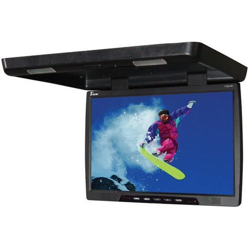 "Tview 22"" TFT LCD black widescreen flip down monitor remote 2 video inputs screen is 20"""