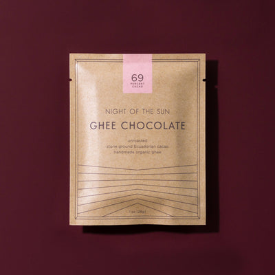 Ghee Chocolate, Night of the Sun, Ayurvedic, Ghee, Cacao, Organic Chocolate, Organic Ghee Chocolate, Ghee Cacao, ghee chocolate, organic ghee chocolate, night of the sun ghee chocolate, ghee and cacao chocolate, organic ghee chocolate, night of the sun, ayurvedic chocolate, Ancient Organics, Sacred Chocolate, 69, 69% cacao, 69% ghee chocolate