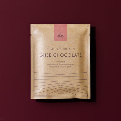 Ghee Chocolate, Night of the Sun, Ayurvedic, Ghee, Cacao, Organic Chocolate, Organic Ghee Chocolate, Ghee Cacao, ghee chocolate, organic ghee chocolate, night of the sun ghee chocolate, ghee and cacao chocolate, organic ghee chocolate, night of the sun, ayurvedic chocolate, Ancient Organics, Sacred Chocolate, 80, 80% cacao, 80% ghee chocolate