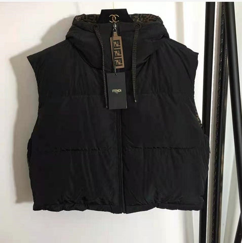 Double F Reversible Cropped Puffer Vest