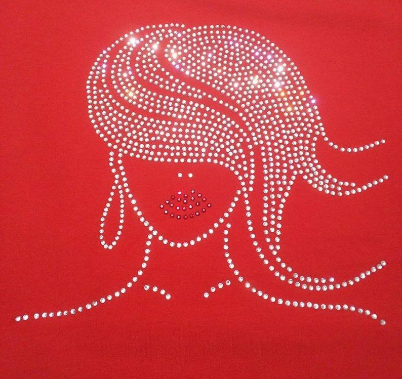 Beautiful Lady with Red Lips Rhinestone Tee