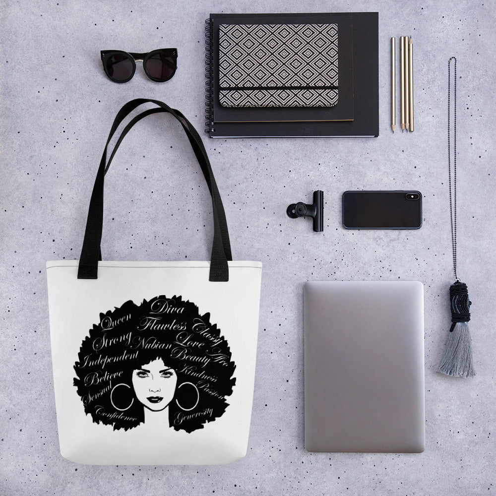 Afro Lady Word Cloud Tote