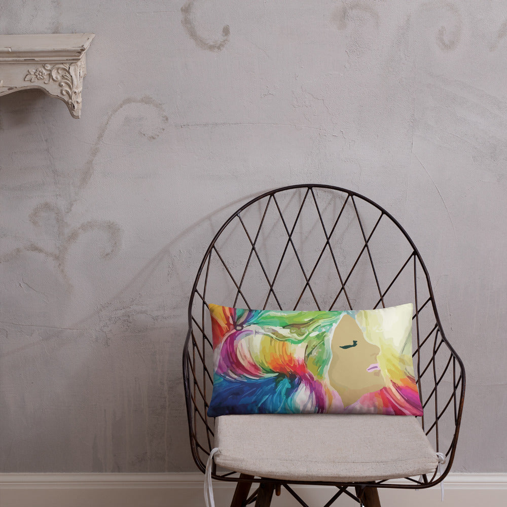 Decorative pillow with multi colored Muse artwork