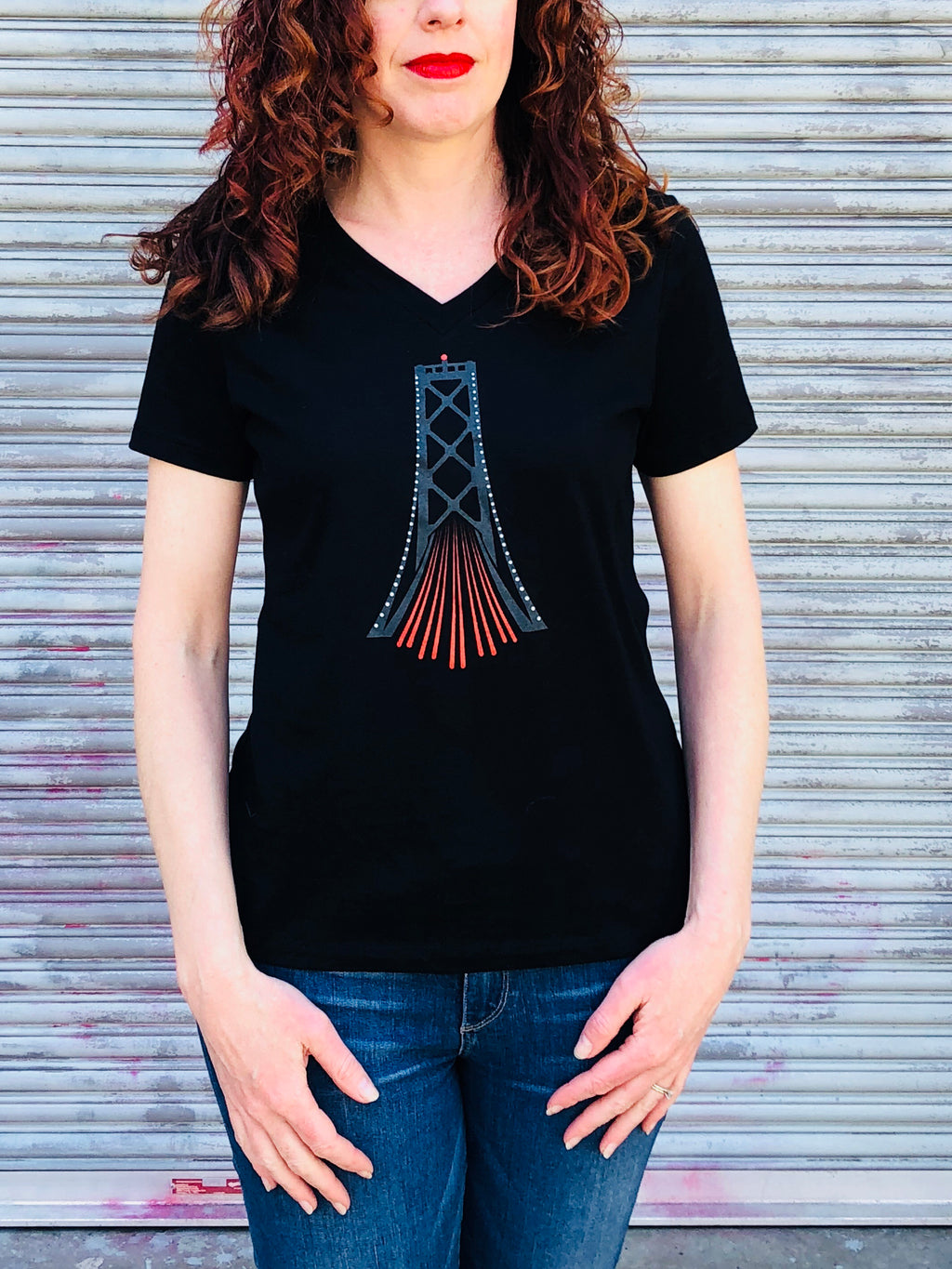 Bay Bridge at Night Ladies V-Neck T-shirt San Francisco T-shirt