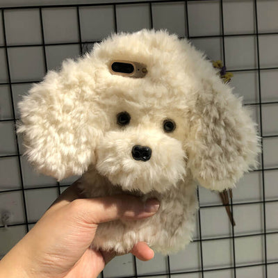 Handmade Plush Dog Phone Case