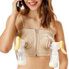 Women's Cotton Wirefree Maternity Nursing Hands Free Pumping Bra
