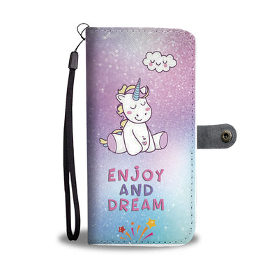 Unicorn Enjoy And Dream Wallet Phone Case