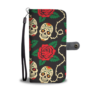 Flower Skull Pattern Wallet Phone Case