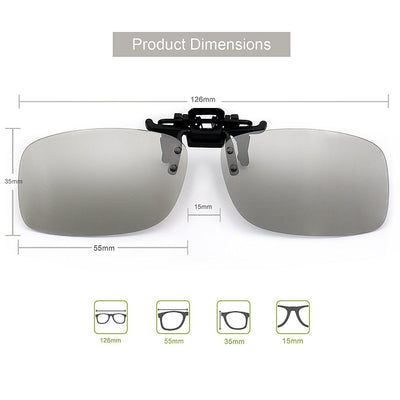 Reald 3D Clip-on Glasses, Sinbadteck Myopia 3D Glasses Clip for TV/Cinema/Movie Circular Polarized Eyewear (RealD & IMAX 2 Pack)