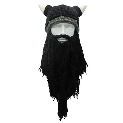 Men Knit Viking Beard/Mustache Hat Beanie