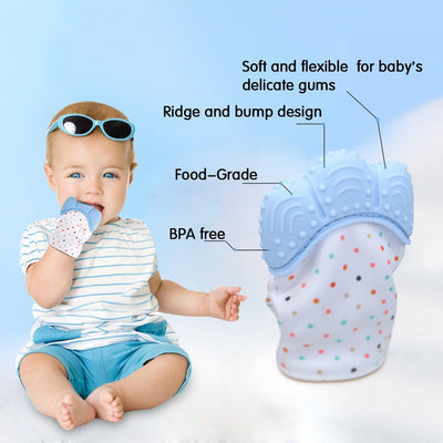 Teether for Baby Self-soothing Pain Relief, BPA Free & Food Grade Teething Glove
