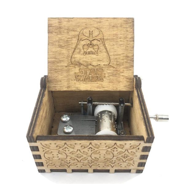 Carved Star Wars Theme Wooden Music Box