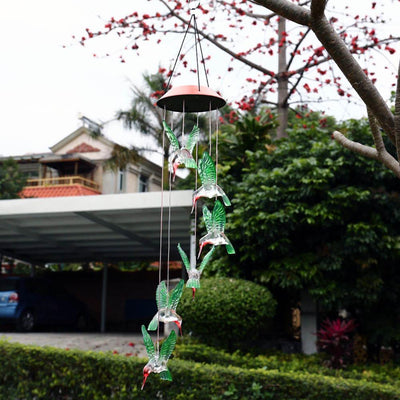 Solar Color Changing LED Hummingbird Wind Chimes