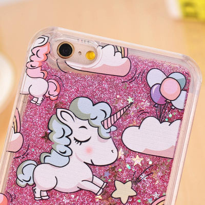 Unicorn Dynamic Liquid Bling Star Phone Cases For iPhone