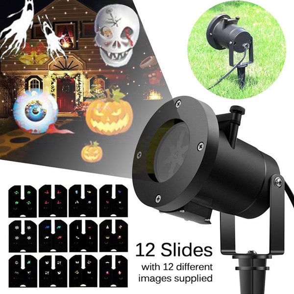 LED Lights Projector with 12 Festive Lights Designs for Halloween, Christmas, Birthday, Holiday Landscape Decoration