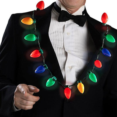 LED Light Up Christmas Bulb Necklace For Adults or Kids