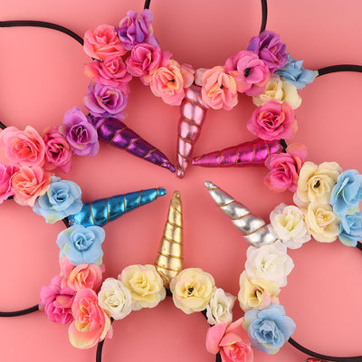 GIRLS FLOWER UNICORN FAIRY HEADBAND