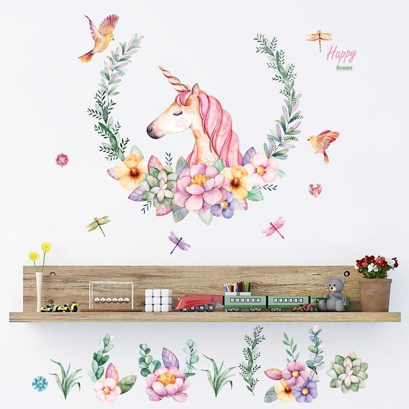 Unicorn Wall Art   Peel And Stick Wall Decal Removable   Watercolor Unicorn  With Flowers