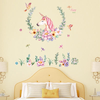 Unicorn Wall Art - Peel and Stick Wall Decal Removable - Watercolor Unicorn with Flowers