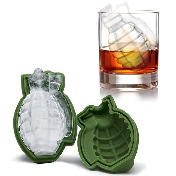 Green 3D Grenade Large Ice Cube Molds
