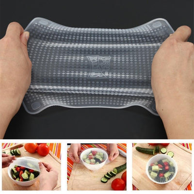 4 PCS REUSABLE SILICONE FOOD WRAPS