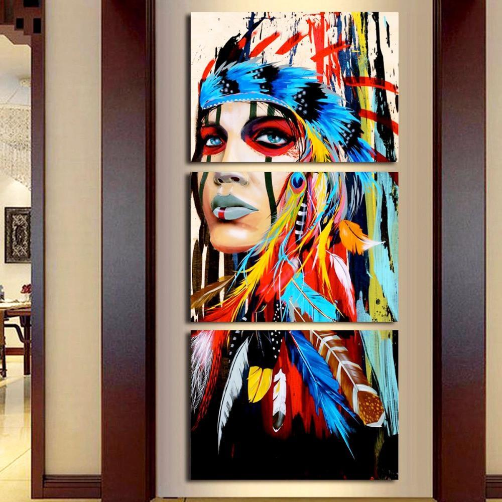 3 Pieces Native American Girl Feathered Women Modern Wall Decor Canvas