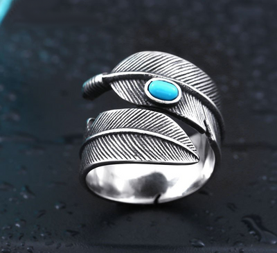 Feather Opening Ring With Stone