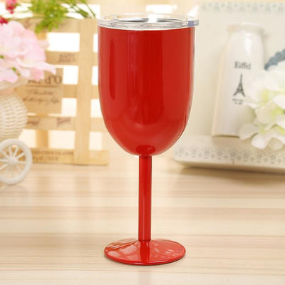 Double Wall Vacuum Sealed Insulated Wine Glass + Goblet with Splash Proof Lid