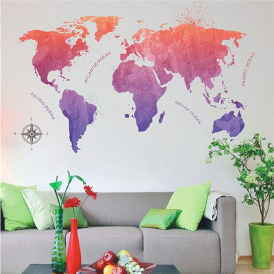 Animal World Map Wall Stickers for Kids Rooms