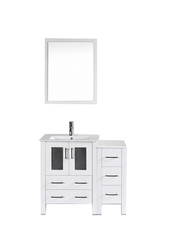 "Bosconi AW124U1S 36"" White Single Vanity"